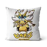 Coussin de canapé imprimé Pikachu Pokemon Jaune, Pokémon Jaune Jeu de rôle Aventure Jeu Solo Oreiller de Corps 45x45cm Coussin de canapé de Voiture