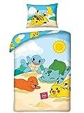 Halantex Parure de lit Pokemon Pikachu pour enfant 2 pièces. Parure de lit 140 x 200 + 70 x 90 cm - Housse de coussin beige bleu jaune - Coton certifié Öko-Tex