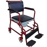 Mobiclinic Ancla Abattant WC à roulettes pour handicapés, personnes âgées, repliable, accoudoirs et repose-pieds, siège ergonomique, embouts antidérapants, bordeaux