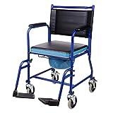 CO-Z Chaise Percée à Roulettes, Gauteuil Roulant avec Toilette Intégrée, Chaise Roulant avec Toilette Portative pour Adultes Âgés Handicapés jusqu'à 150 kg pour Maison Hôpital VC
