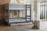 Children's Beds Home - Lit superposé en bois massif – Toby pour enfants – Taille 180 x 80 cm, couleur gris, sans tiroir, sans matelas