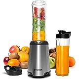 SHARDOR Blender Smoothie Mixeur Fruits Légumes Milkshake 2 Bouteilles Portable 600ml Personnel Multifonction Acier Inox san BPA 350W