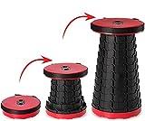 Tabouret Pliant Portable,Tabouret Télescopique Amélioré de Deuxième Génération, Tabouret de Camping pour La Pêche,BBQ,Intérieur,Activités Plein air, Maxi Charge 330 LB (Rouge)