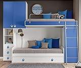 Klipick Chambre à coucher modèle Arc. Soppalco Canapé-lit avec sommier à lattes supérieur et sommier à mailles métalliques amovible, panneau de lit supérieur.