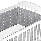 Tour de lit bebe garcon 420 x 30 cm - contour lit bebe respirant Gris avec des étoiles blanches