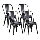 GrandCA Home Lot de 4 Chaise Industrielle, Chaise de Salle à Manger de Style rétro, Chaise de Restaurant Chaise de Balcon Petite Chaise de Jardin, Chaise avec Dossier (Noir)
