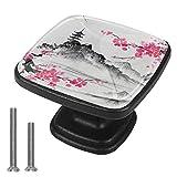 Boutons de poignées d'armoire pour tiroirs de bureau de porteFleur japonaise Verre cristal poignées 4 pièces