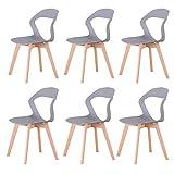 GroBKau Lot de 6 Chaises à Dossier en Plastique Moderne pour Salon, Salle à Manger, Bureau, Salle de Réunion, Restaurant, etc. (Gris-6)