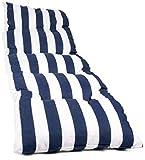 Vigivision Coussin matelassé pour chaise longue, dimensions de 180 x 55 x 5 cm Rayures bleues.