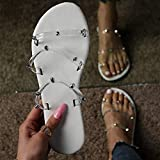 MTHDD Sandales à Bout Ouvert Femmes Couleur Tongs Pantoufles D'été Slip-on Chaussures Décontractées Sandales Antidérapantes Chaussures de Plage Confortables,Blanc,40