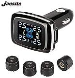 Jansite - Système de surveillance de la pression des pneus TPMS - Alimentation allume-cigare avec port de charge USB pour smartphone - 4 capteurs externes