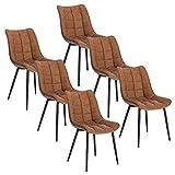 WOLTU 6 X Chaise de Salle à Manger Chaise Design Moderne Assise en Similicuir Bien rembourrée Cadre en métal,Brun Clair BH207hbr-6