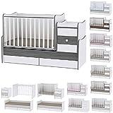 Lit bébé évolutif/combiné Maxi Plus Gris Lorelli (Le lit se transforme en lit d'adolescent, bureau, armoire multifonction)