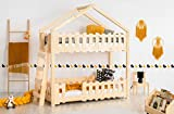 Générique Lit superposé cabane en Bois avec barrières avec 2 couchages 70x160 cm; modèle ZB; Couleur Marron