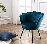 Wahson Fauteuil en Velours Chaise Salle à Manger avec Pieds en Métal Noir, Chaise pour Salon/Chambre/Coiffeuse (Bleu Sarcelle)