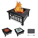 Todeco Brasero Exterieur pour Jardin, Terrasses BBQ pour Fête et Foyer, 3 en 1 Ménager Barbecue Poêle Chauffant avec Couvercle, Grille de Protection