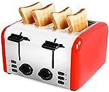 4 tranches Grille-pain, pain Grille-pains compacts Paramètres, Fentes larges, boîtier en acier inoxydable, amovible Tiroir ramasse-miettes XIUYU
