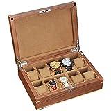 W-HUAJIA Boîte de Rangement - Boîte de Montre pour Hommes 10 Armoire d'affichage à Emplacement, Boucle en métal Caractéristiques d'un Couvercle de Style en Bois de Poraire