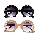 PRETYZOOM 2 paires de lunettes de soleil roses pour femme mignonnes mixeurs tendance pour femmes surdimensionnées avec effet miroir - Lunettes de soleil vintage pour bébé - - noir/orange,