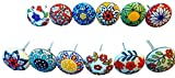 Lot de 10 pièces assorties de boutons de tiroirs en céramique multicolores pour porte d'armoire poignées de mélange indien