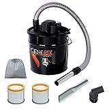 Cenerix - Aspirateur à cendres électrique, 1200W, 18l, avec double filtre, embout plat et brosse avec poils