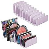 mDesign Rangement pour cosmétiques en Plastique en Lot de 2 – Rangement Maquillage à 9 Compartiments – boîte de Rangement pour la Table à Maquillage, la Coiffeuse ou l'Armoire – Violet Clair