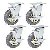 FWZJ roulettes à Plaque pivotante, Roulette de Meuble en Caoutchouc Robuste, roulettes Mobiles avec Frein, Roues 360 degrés sans Bruit, pour étagères d'armoires de Table indus
