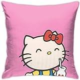 Bxad Housse de coussin Hello Kitty rose pour canapé lit chaise décoration de la maison