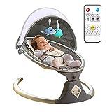 Hanme Chaise berçante électrique pour bébé avec télécommande, transat pour bébé avec diffuseur de Musique Bluetooth Intelligent, pour Nouveau-né de 0 à 12 Mois
