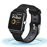 HolyHigh GPS Montre Connectée Montre Sport Podomètre Bluetooth Smartwatch IP68 Etache détection de la fréquence Cardiaque Montre Intelligente Homme Enfant Noir
