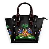 Life Is Better At The Lake Mini sac à main en cuir véritable Rivet pour filles - Noir - Armoiries haïtiennes, Taille unique