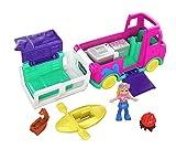Polly Pocket Pollyville Camping-Car Transformable avec zones de Jeu, mini-figurine, autocollants et accessoires, jouet enfant, édition 2020, GKL49