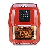GOURMETmaxx Digital XXL Friteuse à air chaud 9 litres   Friture sans graisse, friteuse, four et gril rotatif en un seul appareil   Inclut une broche rotative pour le poulet et le shish kebab [rouge]