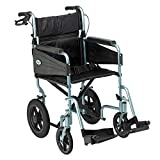 Days Escape Wheelchair, Lite Aluminium, Lightweight and Foldable Frame, Mobility Aids, Attendant-Propelled, Comfort Travel Chair with Removable Footrests, Standard Size, Silver/Blue