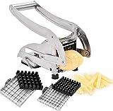 Coupe-Frites Manuel en Acier INOX avec Lames Machine Coupe Pomme de Terre Professionnel