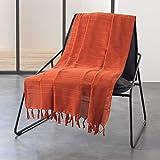 Douceur d'Intérieur Jeté de canape, Coton, Orange, 180 x 220 CM