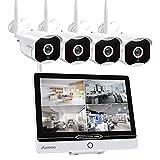 Système de CCTV Caméra Sécurité, Caméra Surveillance 12Pouce LCD Moniteur Kit de Surveillance Sans Fil à Domicile HD 1080p WiFi Kit de DVR Surveillance 4pcs IP Caméra Intérieur et Extérieur