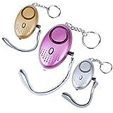 Vegena 3 Packs 140 DB Alarme Personnelle d'urgence, Safesound Alarme de sécurité avec LED Lampe de Poche Torche Alarme Anti Agression pour Femmes, Enfants, Personnes âgées