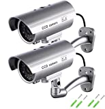 SeeKool Fausse Caméra de Vidéosurveillance, Surveillance Cameras factice exterieur/inteurieur avec LED clignotante ,Dummy Fausse CCTV Camera sécurité maison (2Pcs)