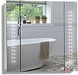 Armoire de Toilette pour Salle de Bain avec Miroir Lumineux, antibuée, Prise pour Rasoir, détecteur de Mouvement et éclairage LED 60cm(H) x 65cm(l) x 13.5cm(P) (Galaxy 60cm(H) x 65cm(L) x 13.5cm(P))