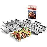Lot de 6 supports pour tacos Uno Casa - Support métallique pour coquilles de taco, Support résistant pour tacos pour les mardis tacos, un livre électronique de recettes