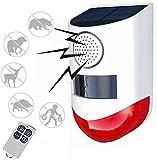 Lumière stroboscopique solaire avec détecteur de mouvement à télécommande, lumière d'alarme solaire, lumière de sirène de sécurité sonore extérieure 120db pour la maison, la ferme, la cour