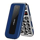artfone Téléphone Portable Senior Débloqué, 2G GSM Clapet avec Grandes Touches, Big Volume Bouton SOS, Écran de 2,4 Pouces, Radio FM, Haut-Parleur de Boîte, Torche, Batterie 1000mAh, Bleu