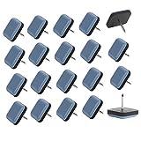 Shintop Lot de 20 patins carrés en téflon avec clou amovibles pour meubles protection de la moquette, du carrelage, du parquet en bois dur Bleu