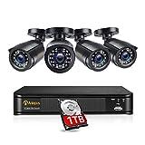 Anlapus Système de Sécurité avec Fil Full HD 1080P Caméra de Surveillance Extérieure 2MP avec Enregistreur 8CH 1080p 1TB HDD Vision Nocturne 24m Alerte par Email & APP Gratuite Accès à Distance