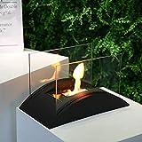 JHY DESIGN Pot à feu de Table rectangulaire Portable 35 cm de Long Cheminée de Table Bioéthanol à Combustion Propre Cheminée sans Conduit pour intérieur Extérieur Patio des soirées Événements