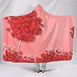 WellWellWell Plaid à capuche pour homme et femme - Motif cœur - Blanc - 130 x 150 cm