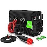 Green Cell® 500W/1000W 12V 220V/230V Convertisseur Pur Sinus de Tension Volts Voiture Solaire Power Inverter sinusoïdale DC AC, Onduleur Transformateur avec Allume Cigare Prise Electrique