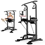 Power Tower Chaise Romaine Traction Dip Station Stands,Barres Parallèles Simples, Accueil Pull-Up Fitnessequipment, Corde Tirer, Sit-Up Formation Entraînement, Exercice Musle, Push-Up,Noir,90*230cm