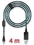 Lioncast Câble de Recharge Manette pour Xbox One et PS4, 4 mètres, Micro USB 2.0 – Bleu et Noir